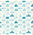 seamless pattern with blue doodle sketch mountains vector image vector image