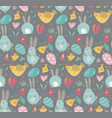 seamless pattern with rabbits chicken and vector image vector image