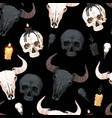 seamless pattern with skull and candle vector image