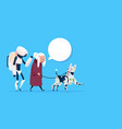 senior woman walking with robots dog chat bubble vector image vector image