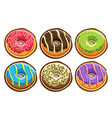 set assorted donuts vector image