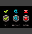 set isolated metal buttons and icons yes vector image