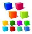 Set of brignt 3d cubes vector image vector image