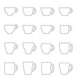 set of contours of cups and mugs vector image