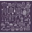 Set of hand drawn kitchen equipments Kitchen vector image