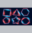 shiny neon frames set in various geometric shapes vector image