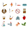 Smoking icons in flat style vector image