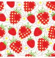 Strawberry patchwork seamless pattern vector image vector image