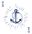 vintage label with an anchor and letter made vector image