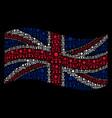 waving united kingdom flag mosaic of hierarchy vector image
