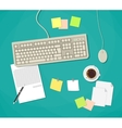 Workplace with keyboard vector image vector image