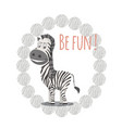 zebra animal character vector image