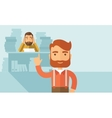 Happy and sad employees vector image