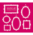 set of white rectangular and oval frames vector image