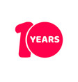 10 years anniversary logo template isolated red vector image vector image