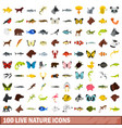 100 live nature icons set flat style vector image vector image