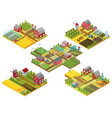 3d isometric rural farms set with tractor vector image