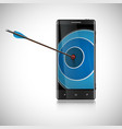an arrow and a mobile phone vector image