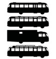 black silhouettes of old buses vector image vector image