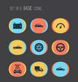 car icons set collection of wheel automobile vector image