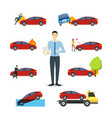 cartoon car insurance signs icon set vector image