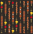 cartoon color kebab on wooden skewers seamless vector image