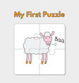 cartoon sheep puzzle template for children vector image vector image