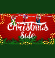 christmas sale beautiful red discount banner with vector image vector image