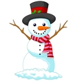 Christmas Snowman cartoon wearing a Hat and red sc vector image vector image