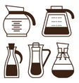 coffee makers pots and kettle line icons vector image vector image