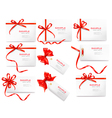 Collection of labels and cards with bow and vector image