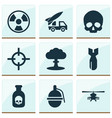 combat icons set with grenade skull poison and vector image vector image