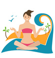 Conceptual of a girl in lotus position sitting on vector image