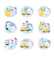 delivery service app truck postal and logistics vector image