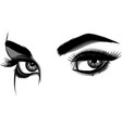 detailed female eyes with long eyelashes vector image