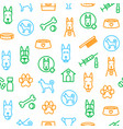 dogs and puppy thin line seamless pattern vector image vector image