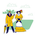 elegant man dandy and woman victorian vector image