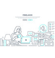 freelance - modern line design style web banner vector image vector image