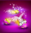 funny bunny driving an egg shell vector image vector image