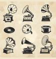 gramophones collection vintage radio music vector image