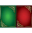 green and red backgrounds with golden decor vector image