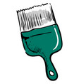 green paint brush on white background vector image vector image