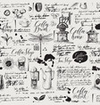 grunge seamless background on coffee and tea theme vector image vector image
