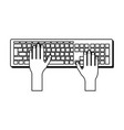 hands using computer keyboard in black and white vector image