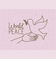 hands with dove world peace vector image vector image