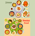 healthy festive dinner icon set for menu design vector image