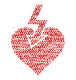 heart shock strike fabric textured icon vector image vector image
