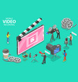 isometric flat concept mobile video vector image vector image