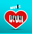 love music design with heart on blue background vector image vector image