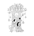 Magic tree clock fox and hare vector image vector image